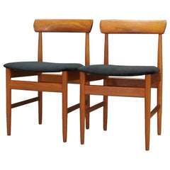 Black Velour Chairs Retro Danish Design, 1970s