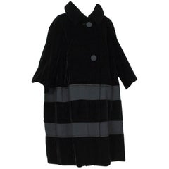 Black Velvet and Faille Stripe Oversized Amorphous Teddy Bear Coat - L-XL, 1960s