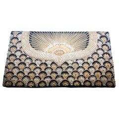 Black Velvet and Silk Embroidered 1960s Zardozi Zari Gemstone Clutch, India