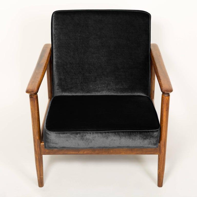 Mid-Century Modern Black Velvet Armchair, Designed by Edmund Homa, 1960s For Sale