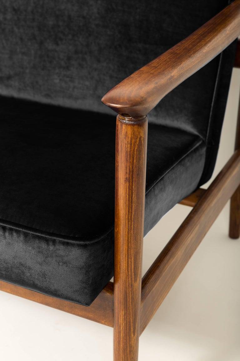 Polish Black Velvet Armchair, Designed by Edmund Homa, 1960s For Sale
