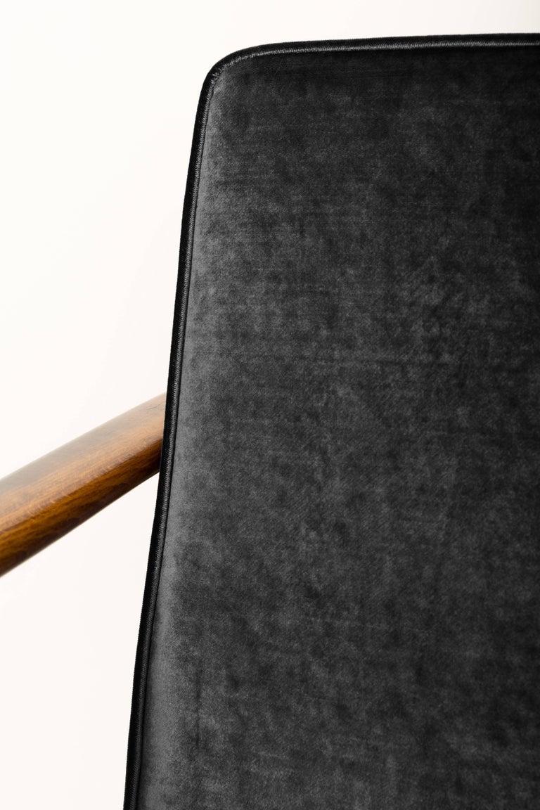 Hand-Crafted Black Velvet Armchair, Designed by Edmund Homa, 1960s For Sale