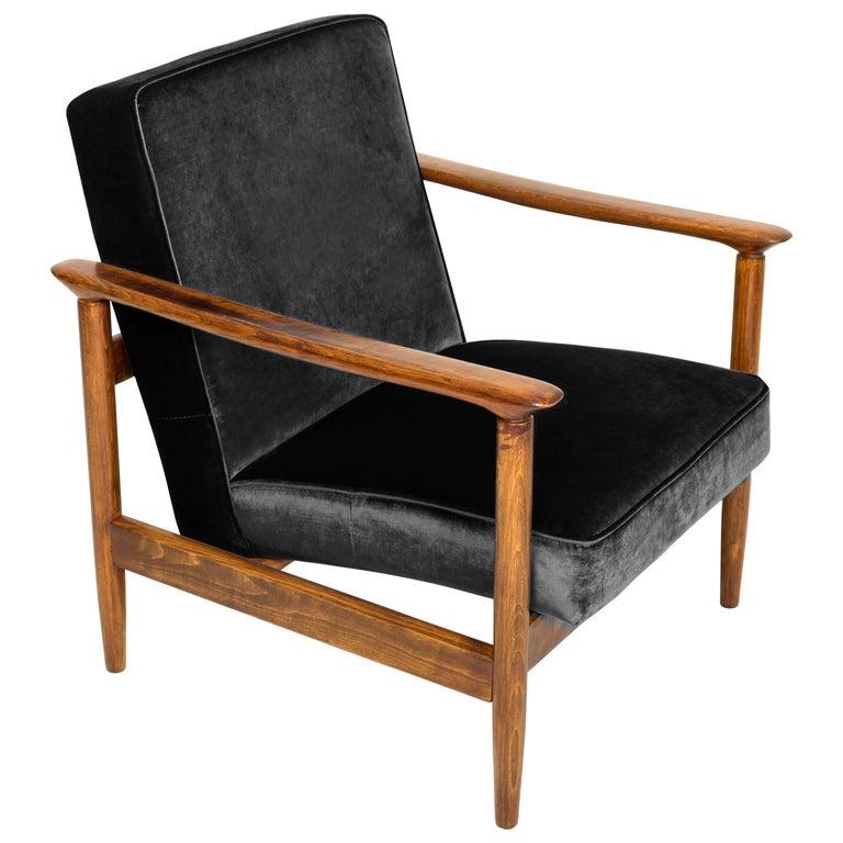 Black Velvet Armchair, Designed by Edmund Homa, 1960s For Sale