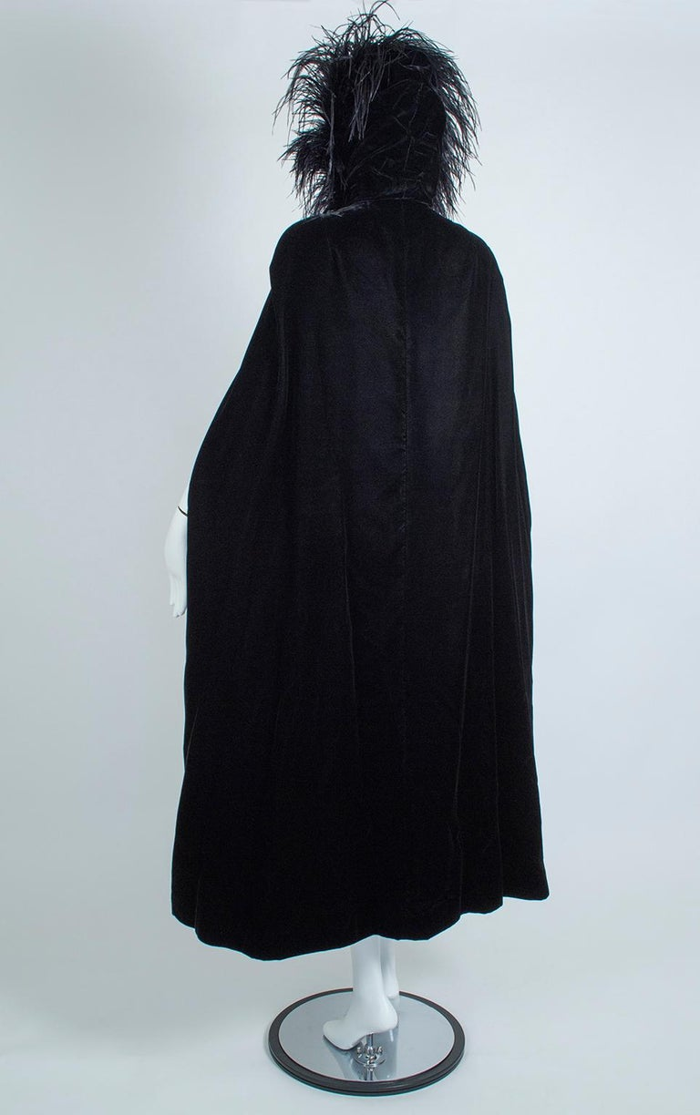 Women's Black Velvet Full-Length Cloak Cape with Ostrich Feather Hood – S, 1960s For Sale