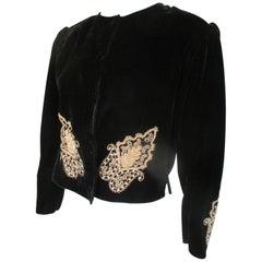 Black Velvet Gold Embroidered Coat