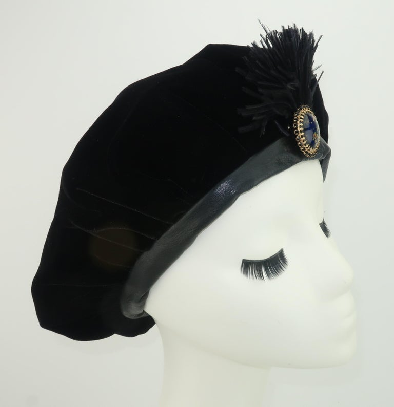 Black Velvet & Leather Beret Style Hat In Good Condition For Sale In Atlanta, GA