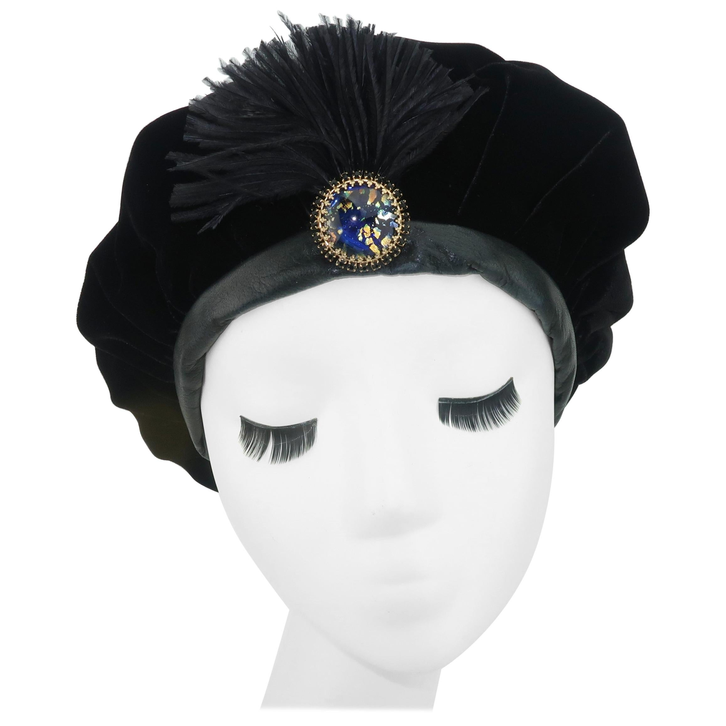 Black Velvet & Leather Beret Style Hat