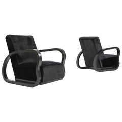 Black Velvet Lounge Chairs in the Manner of Halabala