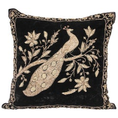 Black Velvet Throw Pillow Embroidered with Metallic Gold Threads