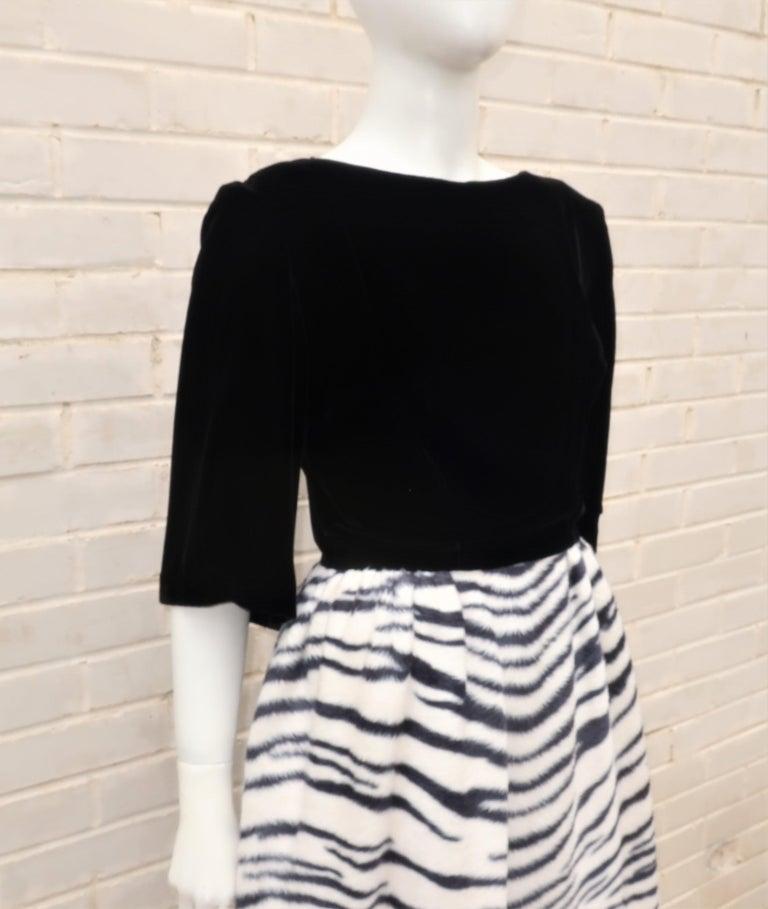 Women's Black Velvet & Zebra Faux Fur Hostess Dress, C.1960 For Sale