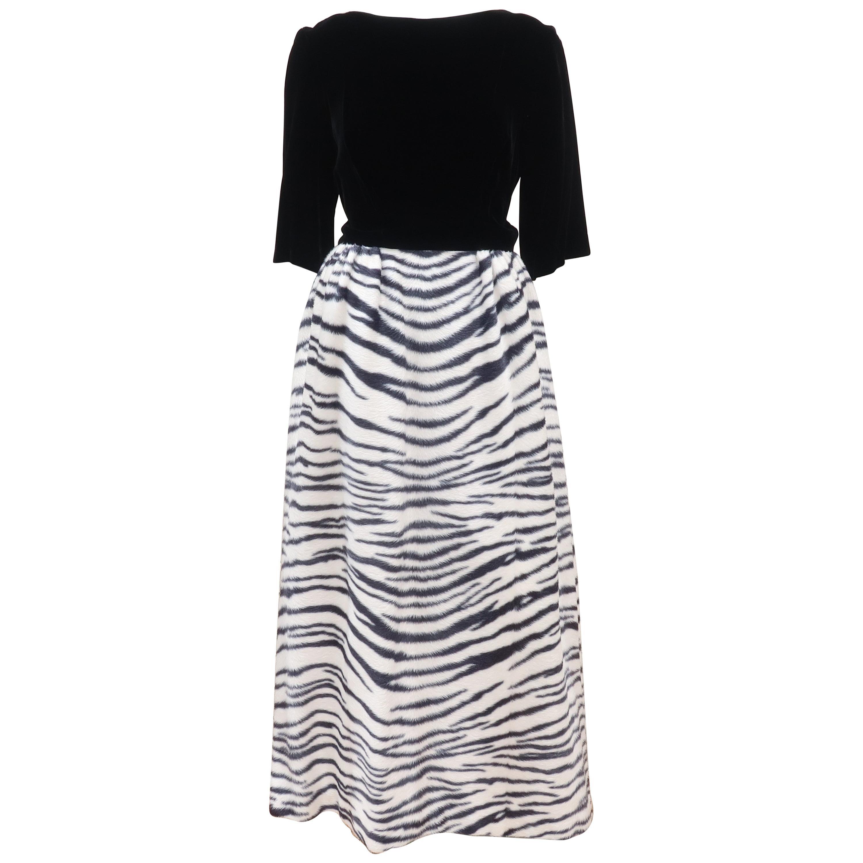 Black Velvet & Zebra Faux Fur Hostess Dress, C.1960