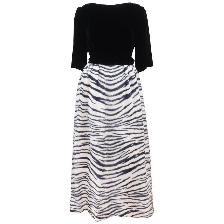 Black Velvet & Zebra Faux Fur Hostess Dress, C.1960 For Sale