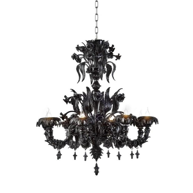 Art Deco Black Venetian Glass Chandelier Venetian Style For Sale