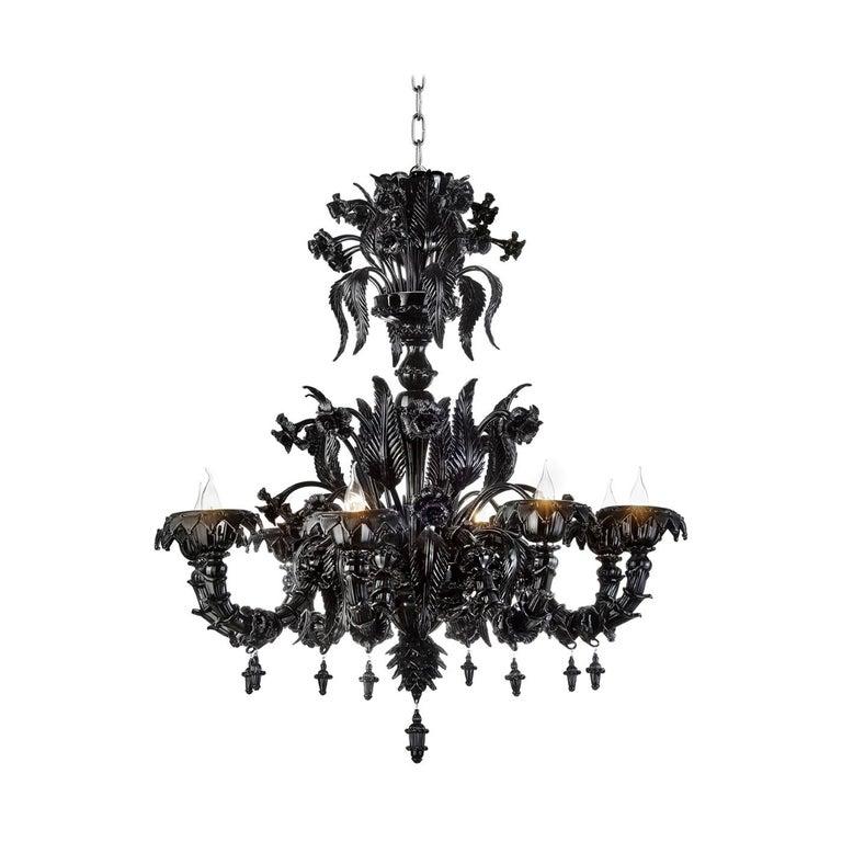 Black Venetian Glass Chandelier Venetian Style For Sale