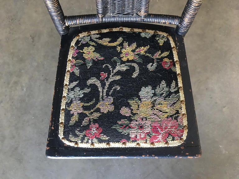 Late Victorian Black Victorian Southern Gothic Wicker Back Side Chair For Sale