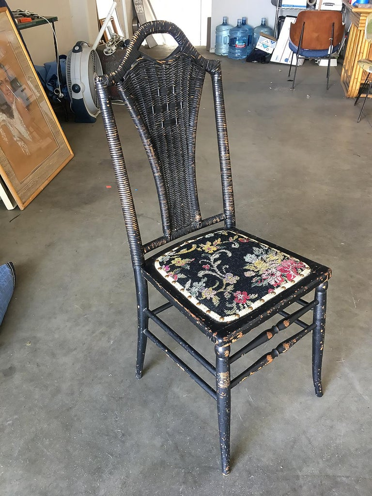 American Black Victorian Southern Gothic Wicker Back Side Chair For Sale