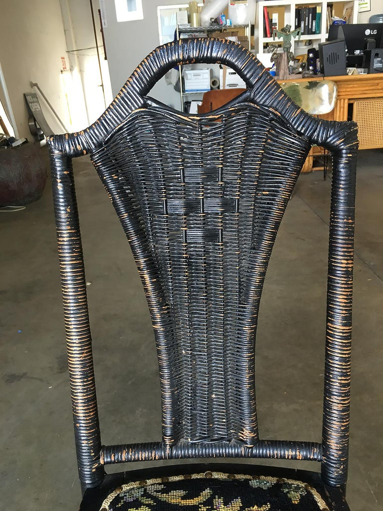 Black Victorian Southern Gothic Wicker Back Side Chair In Good Condition For Sale In Van Nuys, CA