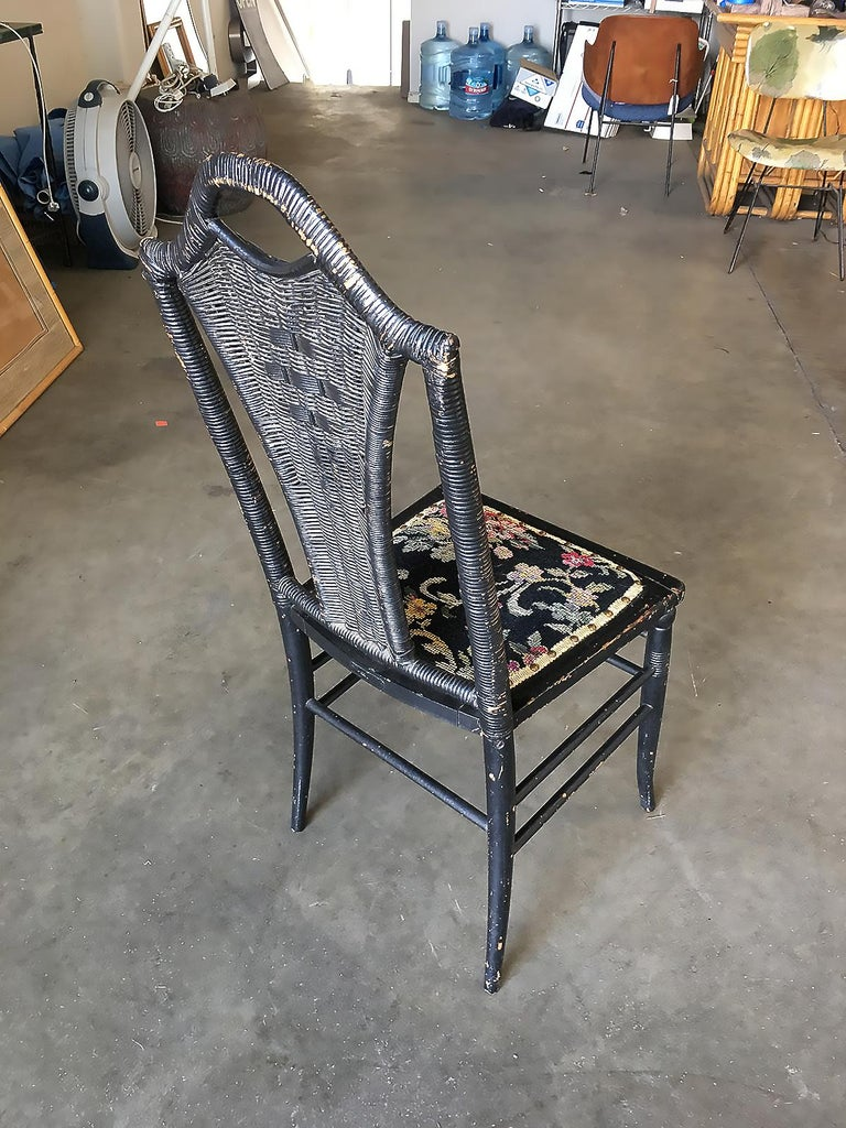 19th Century Black Victorian Southern Gothic Wicker Back Side Chair For Sale