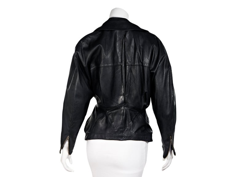 Black Vintage Alaia Asymmetrical Leather Jacket In Good Condition For Sale In New York, NY