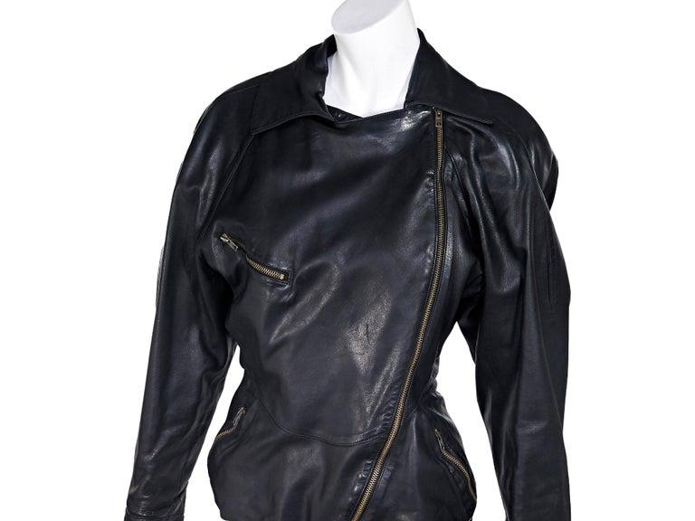 Women's Black Vintage Alaia Asymmetrical Leather Jacket For Sale