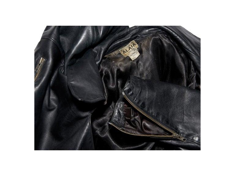 Black Vintage Alaia Asymmetrical Leather Jacket For Sale 1