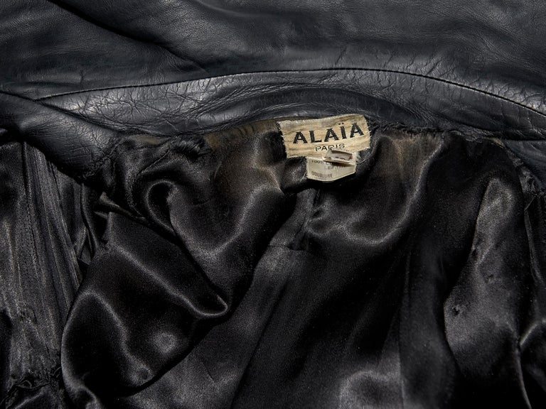 Black Vintage Alaia Asymmetrical Leather Jacket For Sale 2