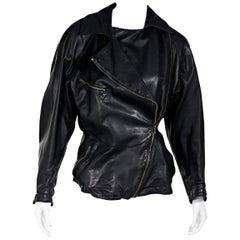 Black Vintage Alaia Asymmetrical Leather Jacket