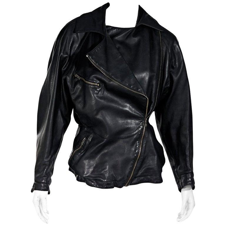 Black Vintage Alaia Asymmetrical Leather Jacket For Sale