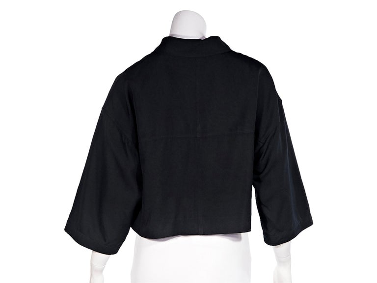 Chanel Boutique Black Linen Crop Top In Good Condition In New York, NY