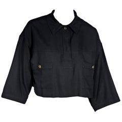 Black Vintage Chanel Boutique Linen Crop Top