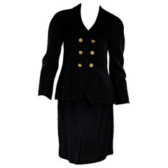 Black Vintage Chanel Linen-Blend Skirt Suit Set