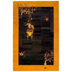 Mid Century Black and Yellow Handwoven Wool Chinese Rug
