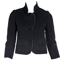 Christian Dior Black Haute Couture 1972 Wool Jacket