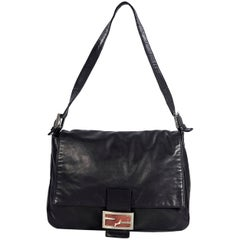 Black Vintage Fendi Leather Mama Forever Bag
