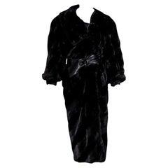 Black Vintage Fendi Mink Fur Long Coat