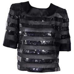 Black Vintage Givenchy Sequined Striped Top