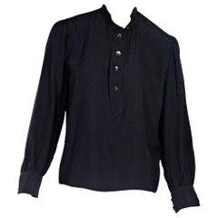 Black Vintage Gucci Printed Silk Blouse