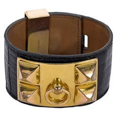 Hermes Black Crocodile Collier de Chien Bracelet