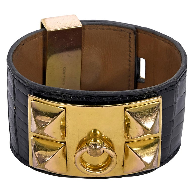 Hermes Black Crocodile Collier de Chien Bracelet For Sale