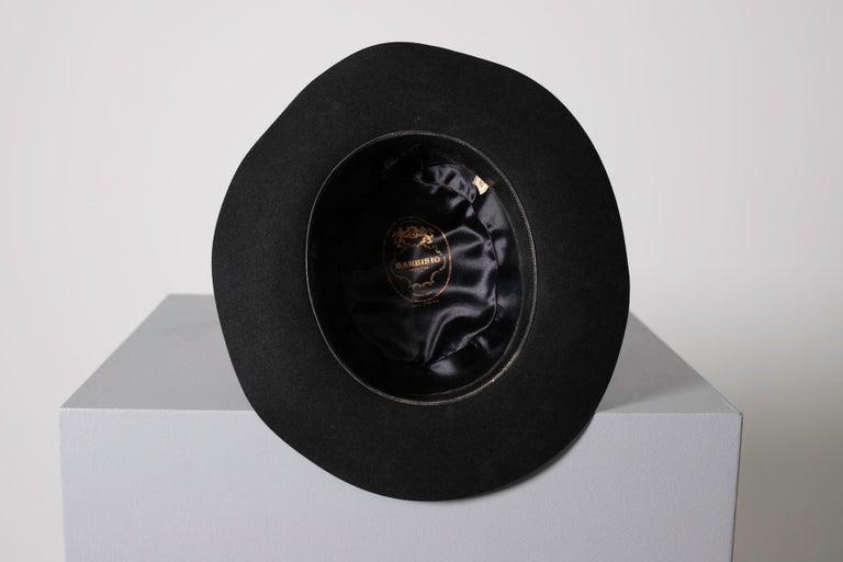 Black Vintage Italian Women's Hat by Barbisio , 1950s For Sale 2