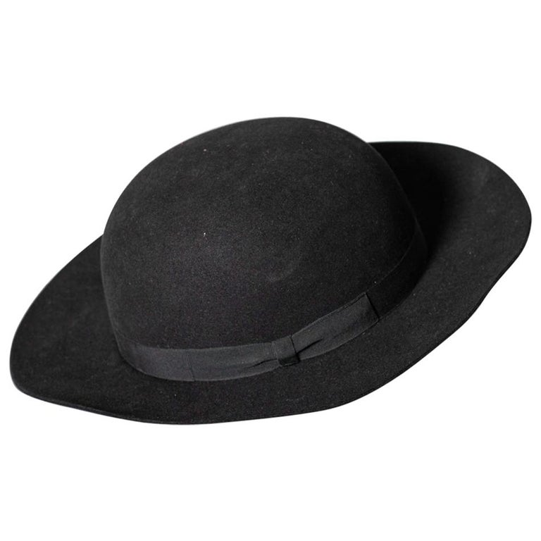 Black Vintage Italian Women's Hat by Barbisio , 1950s For Sale