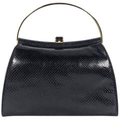 Judith Leiber Black Leather Snakeskin Handbag