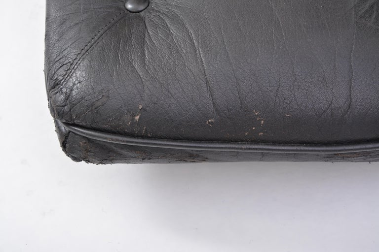 Black Vintage Leather Ottoman or Foot Stool, Attributed to Sergio Rodrigues For Sale 7