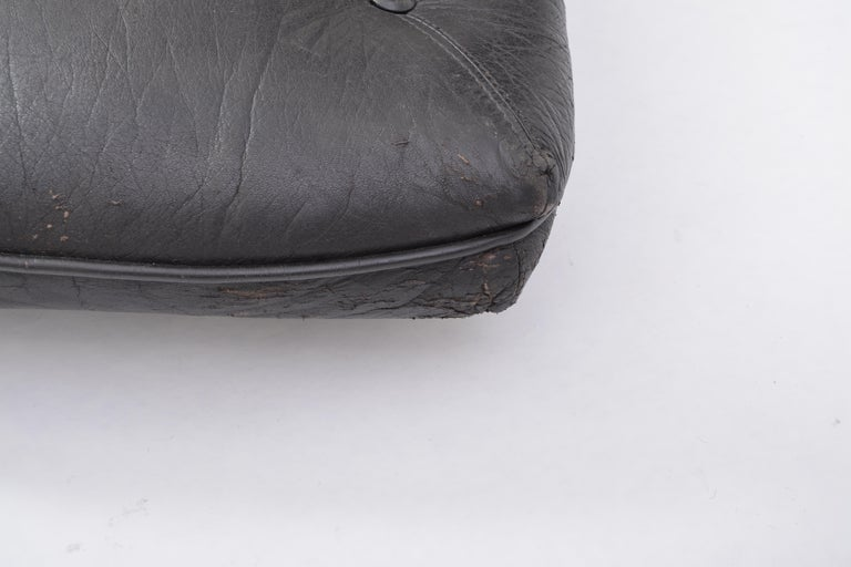 Black Vintage Leather Ottoman or Foot Stool, Attributed to Sergio Rodrigues For Sale 8