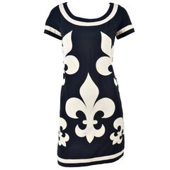Moschino Black Couture Cruise Me Baby Dress With Ivory Fleur de Lis,  1990s