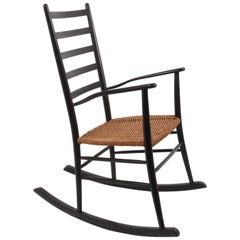 Black Vintage Rocking Chair with Rope Seat, Scandinavia, 1950s
