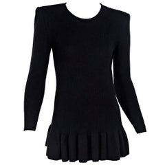 Black Vintage Valentino Ribbed-Knit Sweater
