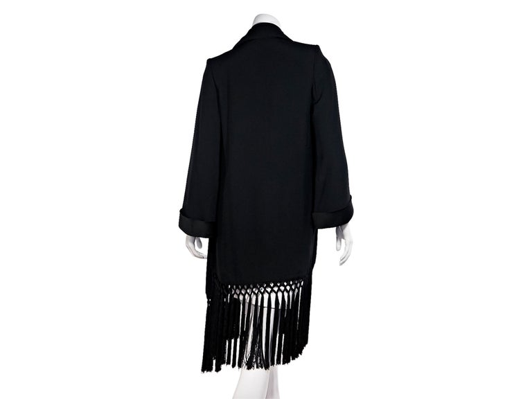 Black Vintage Yves Saint Laurent Gabardine Fringe-Trimmed Jacket In Good Condition In New York, NY