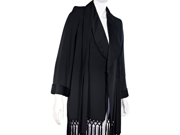 Women's Black Vintage Yves Saint Laurent Gabardine Fringe-Trimmed Jacket