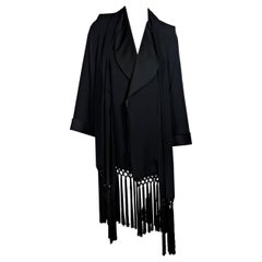 Black Vintage Yves Saint Laurent Gabardine Fringe-Trimmed Jacket